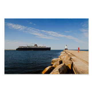 SS Badger Car Ferry & Ludington, MI Lighthouse Poster