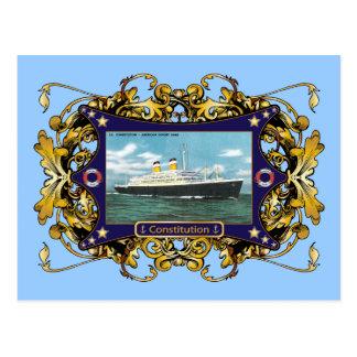 SS Constitution Vintage Ocean Liner Postcard