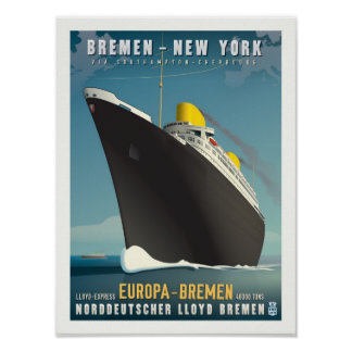 SS Europa Art Deco Travel Poster
