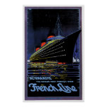 SS Normandie French Line Vintage Ship Ad Print