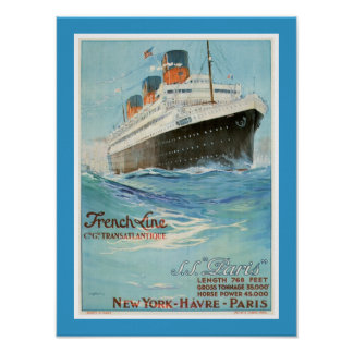 ss Paris - The French Line Poster