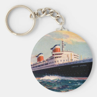 ss United States at Sea Basic Round Button Key Ring
