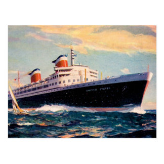 ss United States in Sea Postcard
