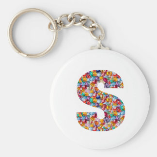 SSS Beautiful ALPHA S mala of Pearls Gems Jewels Basic Round Button Key Ring