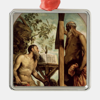 St. Andrew and St. Jerome Silver-Colored Square Decoration