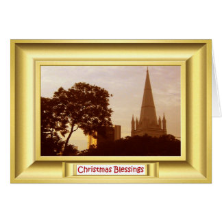 """St ANdrew""""s cathedral Singapore at sunset Card"""