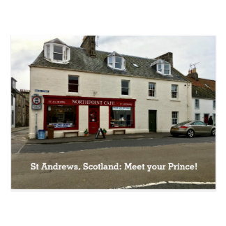 "St Andrews Scotland ""Meet Your Prince"" Cafe Window Postcard"