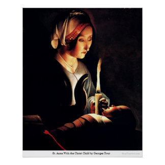 St. Anna With the Christ Child by Georges Tour Print