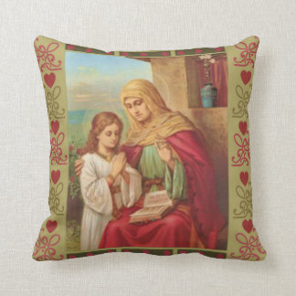 St. Anne Virgin Child Mary Grandmother Hearts Cushion