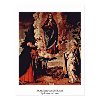 St.Anthony And St.Louis By Lorenzo Lotto Postcard