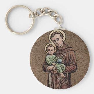 St. Anthony & Baby Jesus Basic Round Button Key Ring