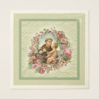 St. Anthony Baby Jesus Pink Roses Wreath Disposable Serviette