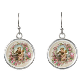 St. Anthony Baby Jesus Roses Earrings