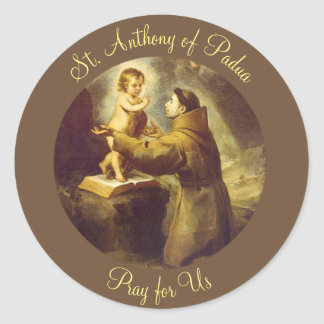 St. Anthony of Padua Baby Jesus Classic Round Sticker