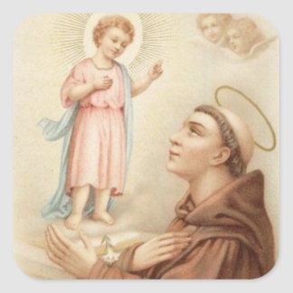 St. Anthony of Padua Baby Jesus Square Sticker