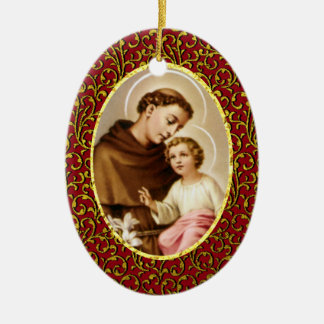 St. Anthony of Padua Personalize Background Color Ceramic Ornament