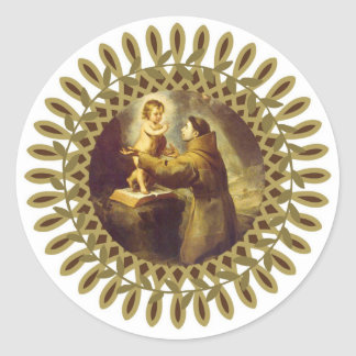 St. Anthony of Padua with Baby Jesus Classic Round Sticker