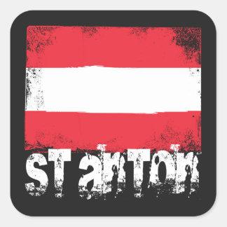 St Anton Grunge Flag Square Sticker