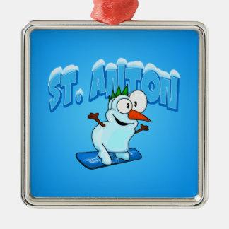St. Anton Snowman Metal Ornament