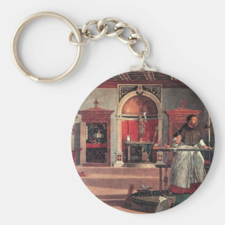 St. Augustine in His Study - Vittore Carpaccio Basic Round Button Key Ring