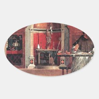 St. Augustine in His Study - Vittore Carpaccio Oval Sticker