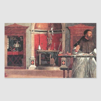 St. Augustine in His Study - Vittore Carpaccio Rectangular Sticker