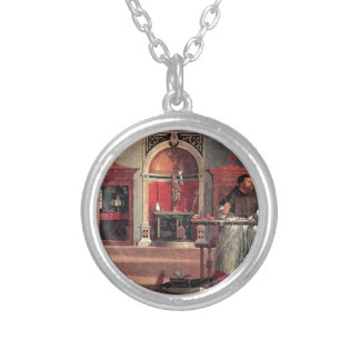 St. Augustine in His Study - Vittore Carpaccio Silver Plated Necklace
