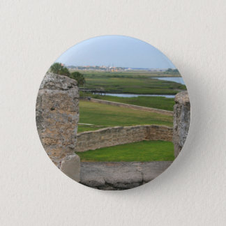 St Augustine view from castle 6 Cm Round Badge