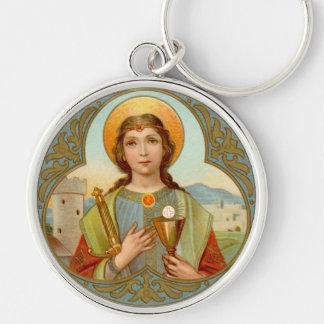St. Barbara (BK 001) Premium Round Metal Key Ring