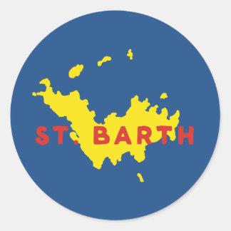 St. Barth Silhouette Round Sticker