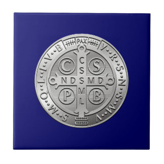 St Benedict Cross Medal Ceramic Tile