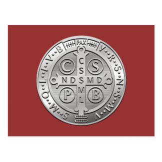 St Benedict Cross Medal Postcard