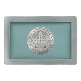 St Benedict Cross Medal Rectangular Belt Buckle