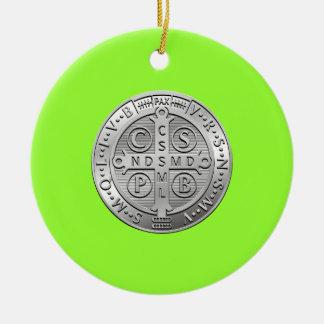 St Benedict Cross Medal Round Ceramic Decoration