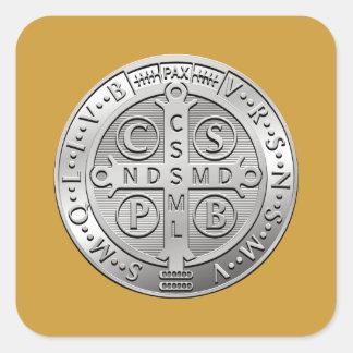 St Benedict Cross Medal Square Sticker