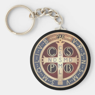 St. Benedict Medal Keychains, Various Styles Basic Round Button Key Ring