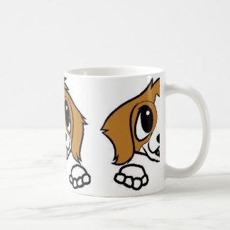 st bernard cartoon peeking orange white coffee mug