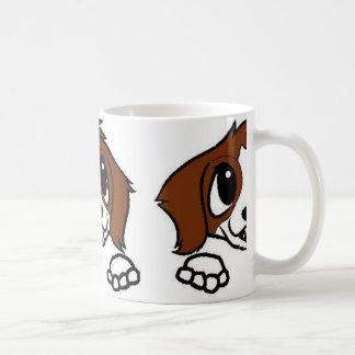 st bernard cartoon peeking rust white coffee mug