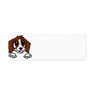 st bernard cartoon peeking rust white return address label