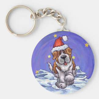 St. Bernard Christmas Basic Round Button Key Ring