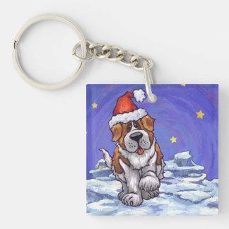 St. Bernard Christmas Double-Sided Square Acrylic Key Ring