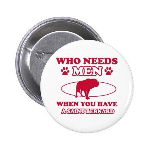 St Bernard dog breed designs Buttons
