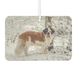 St Bernard dog in the snow Car Air Freshener