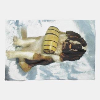 St Bernard dog, Mountain Rescue Tea Towel