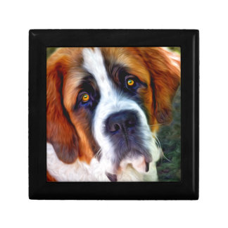 St Bernard Dog Painting Small Square Gift Box