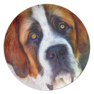 St Bernard Dog Painting Plate