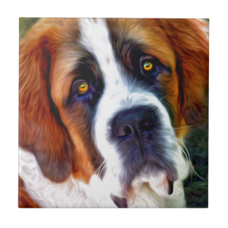 St Bernard Dog Painting Small Square Tile