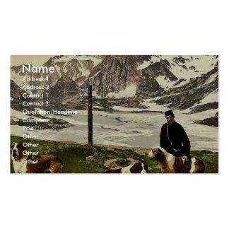 St. Bernard dogs, Valais, Alps of, Switzerland cla Business Card Templates