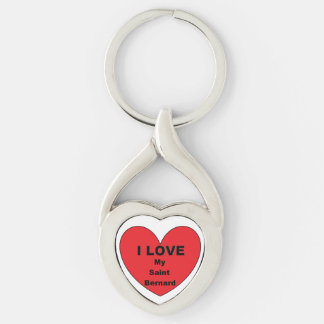 st bernard love Silver-Colored twisted heart key ring