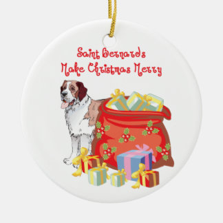 St Bernard Merry Christmas Ceramic Ornament